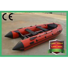 Barco a remo inflável com piso de alumínio em PVC