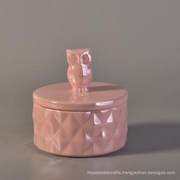 Unique Design Ceramic Candle Jar with Animal Lids