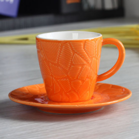3OZ emboss cup and saucer