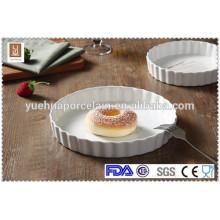 Placa de pizza de forma redonda cerâmica branca placa de cozimento por atacado