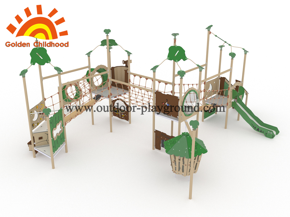 Children Multiply Net Bridge With Swing Playhouse