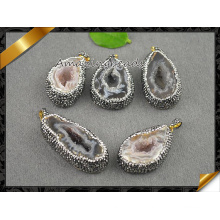 Hot Sale Druzy Agate Pendants Jewelry, Geode Drusy Collier perles creuses (EF0100)