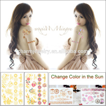 Autocollant de tatouage de la peau du corps le plus récent Changement de couleur dans le soleil BS-8031