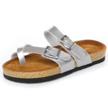 Buckles decorated flat flip flops cork sandals women-beach shoes