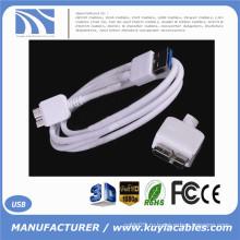 Высококачественное белое 3-футовое USB-устройство USB 3.0 A для подключения к высокоскоростному кабелю Micro B