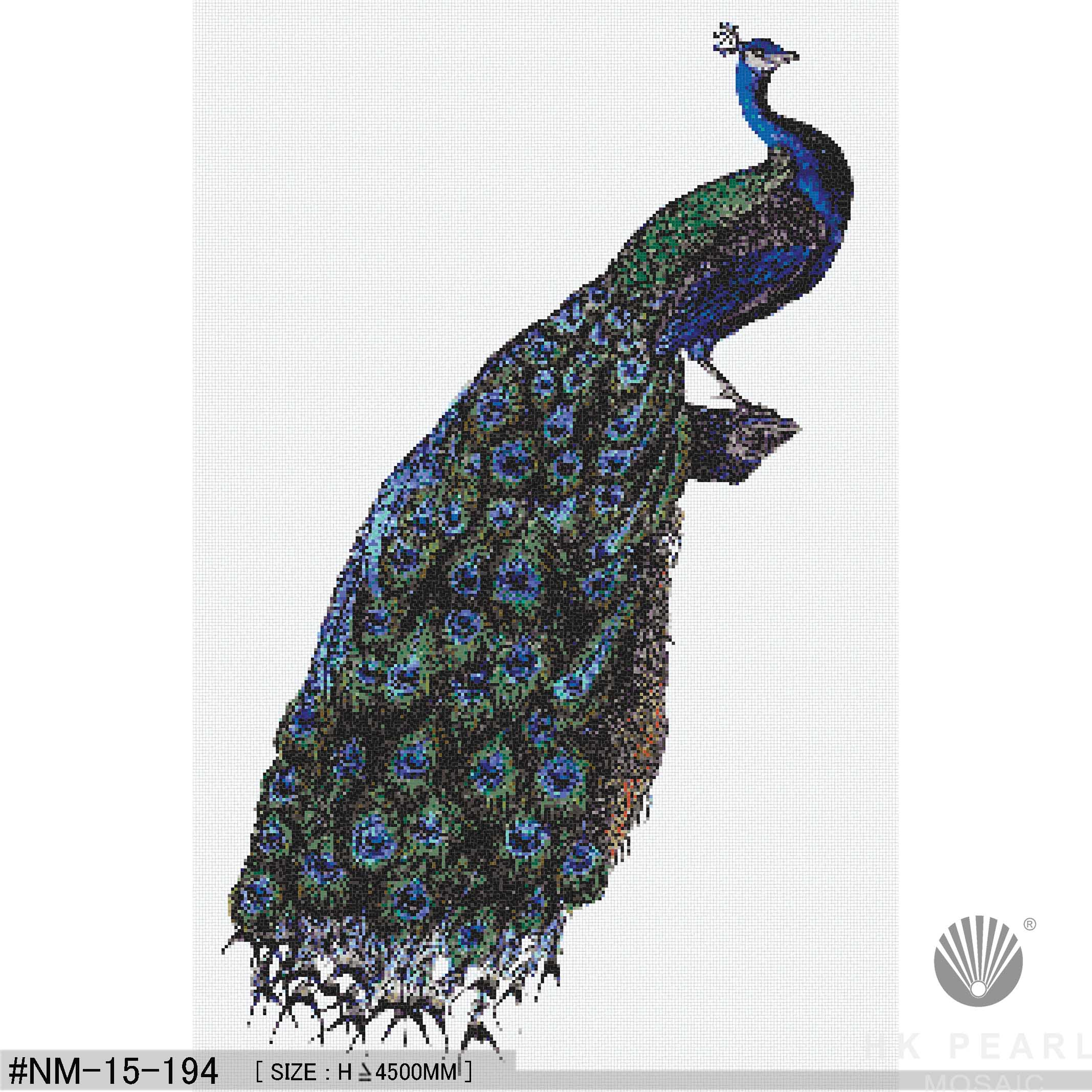 Beautiful Blue Peacock Glass Mosaic Tile Art Mural