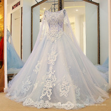 RP88712 Real heavy beaded with long cape vintage removable wrap ice princess wedding dress