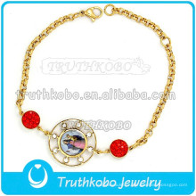 Médaille En Époxy Christ Bracele En Acier Inoxydable Bracelet En Or Bracelet En Gros Saint Benoît Bracelet Saint Notre Dame de Guadalupe Bracelet