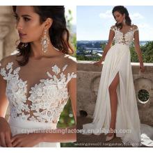 2017 Cap Sleeve Appliqued Lace Split Beach Chiffon Informal Wedding Gowns W2106