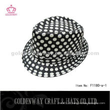 Black Fedora Hat With White Dots pour hommes F1180-a professional hats factory supply