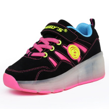 Foreign Trade Pink Sport Shoes LED Light Roller Skate Sneakers for Kids with Wheels Retractable LED Roller Skate Shoes Running