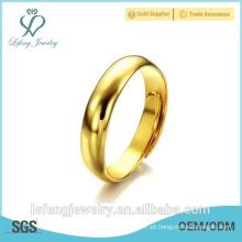 Mão feita tamanho ajustável alta polido anéis banhados a ouro personalizado para as mulheres