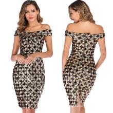 2020 new design lady elegant night wear Sexy fashion plaid sequin women dress