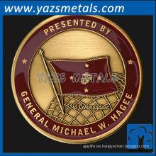 personalizar monedas de metal, infantería de alta calidad de encargo Moneda de comandante de latón con acabado antiguo y esmalte