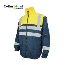 Abrigo reflectante uniforme fluorescente de invierno de manga larga