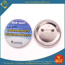 Information Liaison Zinn Button Abzeichen in gedruckt