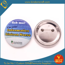 Étiquette d'information Tin Button Badge in Printed