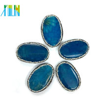 Blue Agate Oval Shape Slice Crystal Paved Druzy Gem Stone Connectors Pendant Jewelry Findings