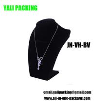 Exhibición del collar de la joyería del terciopelo negro del terciopelo del estallido (JN-VH-BV)