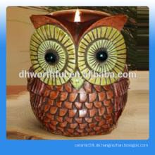 Hochwertige Eule Keramik Kerze Glas