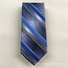 Business-Großhandel Ihre eigene Marke Sliver Floral Stripe gewebte Jacquard-Seidenkrawatte