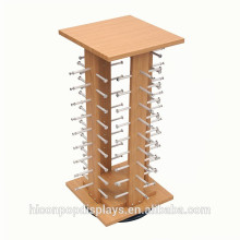 In Store Marketing Sun Glasses Exhibition Unit Counter Top Wood Sunglasses Stands Display Rotating