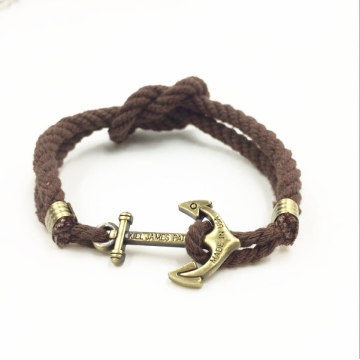 Handmade Design Cotton Rope Anchor Bracelet For Men