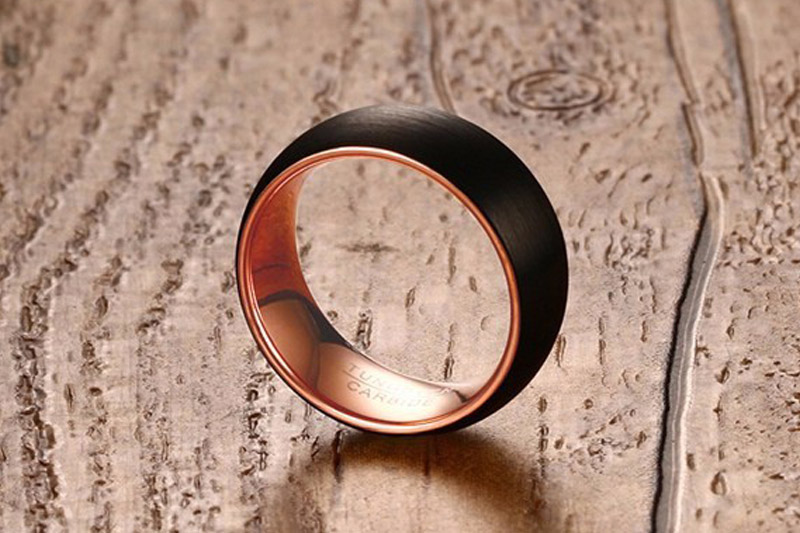 brushed tungsten wedding band