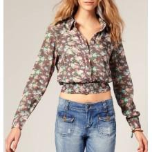 Мода печать хлопок ткань горячая Оптовая продажа пользовательские девушка рубашки и блузки
