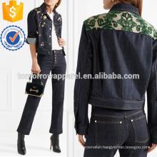 Flocked Jacquard-trimmed Embellished Denim Jacket Manufacture Wholesale Fashion Women Apparel (TA3033C)