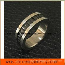 Shineme Jewelry Fashion Black Stone Inlaid Titanium Ring (TR1916)