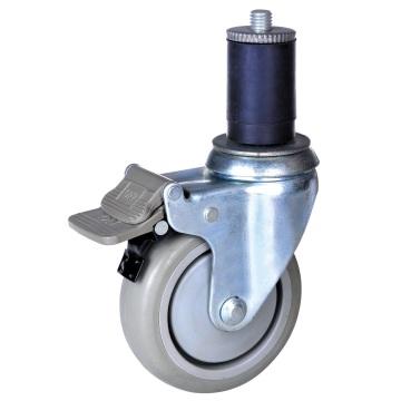4 inch PU wheel expandable stem caster