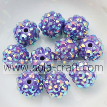10*12MM Dark Purple AB Solid Resin Rhinestone Beads Necklace Accessory