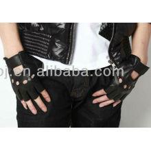 2013 stylish fingerless black leather rugged wear gloves