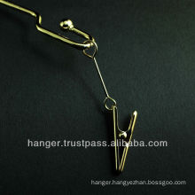 Golden Girly Metallic Lingerie Hanger with Clips for Elegant Evening Dress