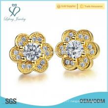 Vintage copper flower stud earrings,crystal flower earrings jewelry