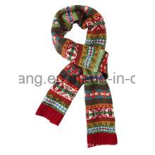 Moda invierno cálido de punto de acrílico Jacquard bufanda larga