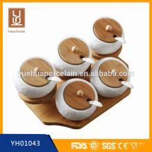 Современная посуда из белой керамической бамбуковой банки для специй на продажу