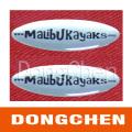 Etiqueta engomada de epoxy del logotipo de la bóveda de la impresión del diseño material de la PU de encargo