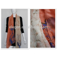 100% polyester flower printing long big shawl scarf