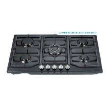 Table de cuisson à gaz 5 feux en verre trempé noir Homeused