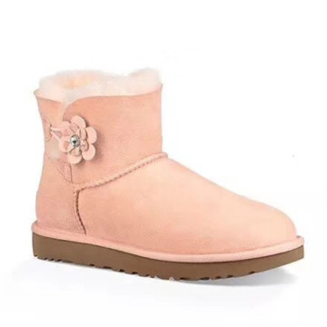 women Button Poppy Flower winter Snow sheepskin Boots