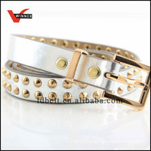 Skinny Golden Rivet Girl's Dressy PU Belts