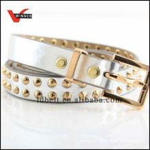 Skinny Golden Rivet Girl Dressy PU Belts