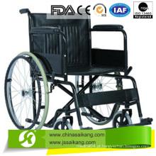 Cadeira de rodas em aço com apoio de braço em PVC fixo