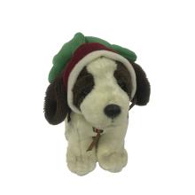 Plush Dog With Christmas Hat