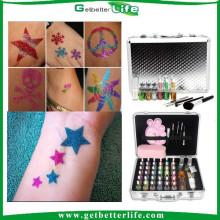 2015 getbetterlife verano caliente venta Sparkle Glitter Tattoo Kit 38 colores /glitter tatuaje conjunto/glitter tattoo