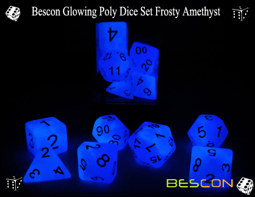 Bescon Glowing Poly Dice Set Frosty Amethyst-4