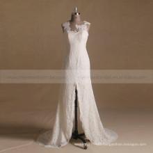 Graceful Scoop Neck Backless Spilt Leg Fish Style Lace Wedding Dress With Sleeveless