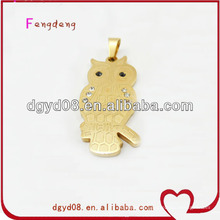 Gold stainless steel owl necklace with chain
